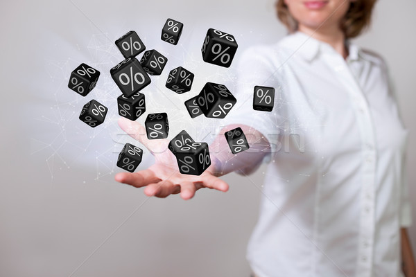 Woman Black Percent Cubes Stock photo © limbi007