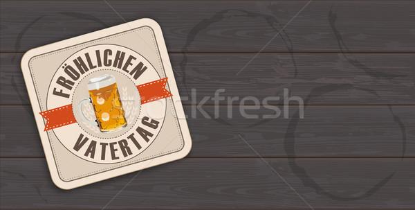 Dark Wooden Background Beer Coaster Froehlichen Vatertag Stock photo © limbi007