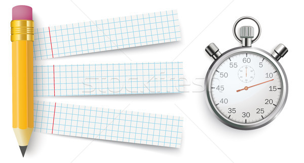 Pencil Checked Papers Stopwatch Stock photo © limbi007