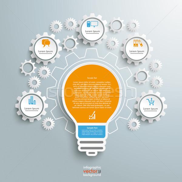 電球 インフォグラフィック ギア マシン デザイン グレー ストックフォト © limbi007