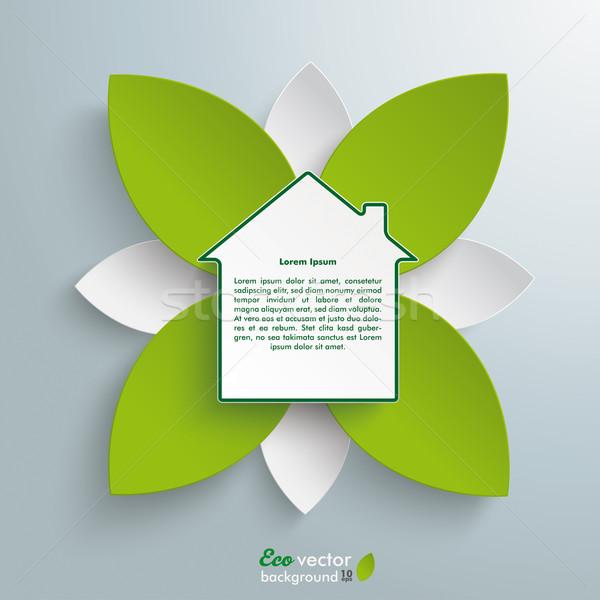 Eco domu zielone kwiat projektu Zdjęcia stock © limbi007