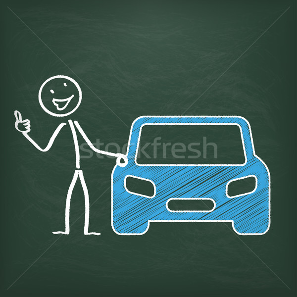 Blackboard Stickman Car Ok Stock photo © limbi007