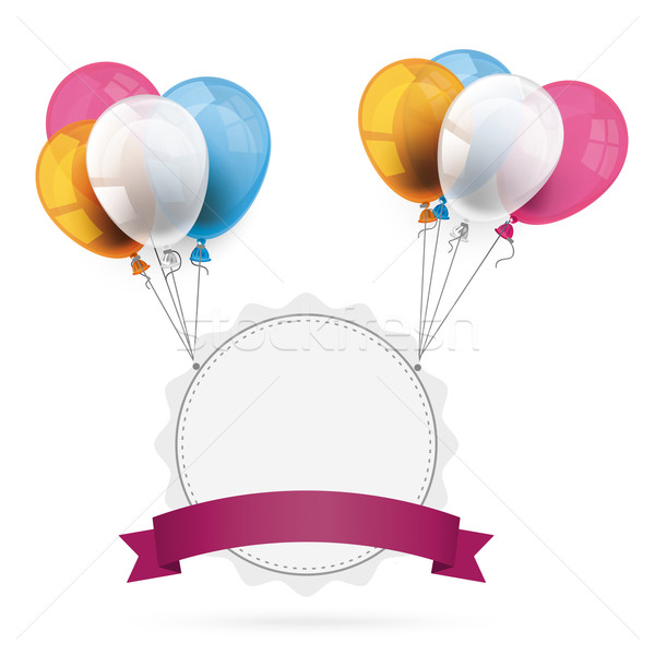 Jagged Emblem with Ribbon Balloons Stock photo © limbi007