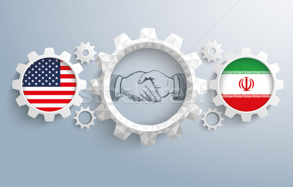 Iran USA Partnership Gear Handshake Stock photo © limbi007