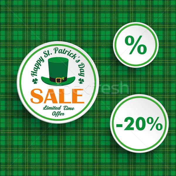 St Patricks Day Sale Circle Hat Tartan Stock photo © limbi007