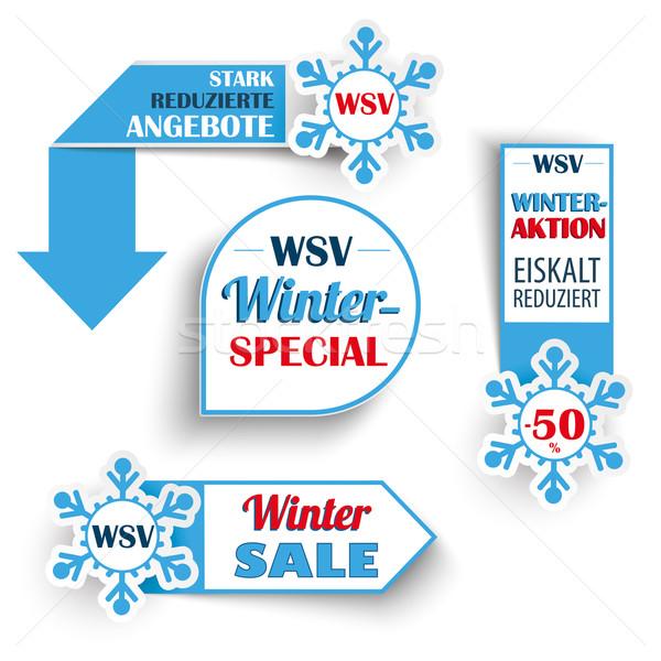 Tél vásár hópelyhek szöveg árak eps Stock fotó © limbi007