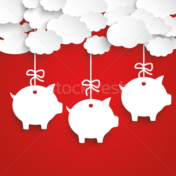 Paper Clouds Striped Red Piggy Banks Stock photo © limbi007