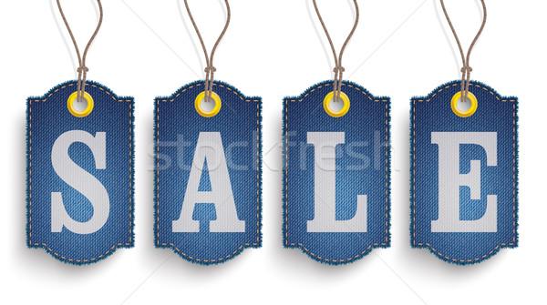 4 Classic Frayed Sale Jeans Price Stickers Stock photo © limbi007