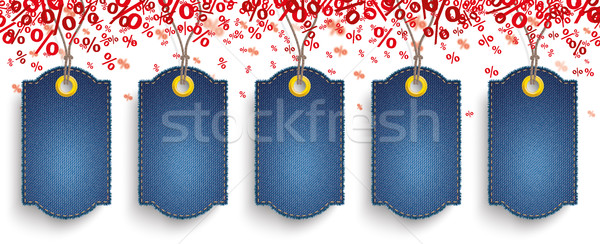Red Percents Confetti 5 Jeans Price Stickers Stock photo © limbi007