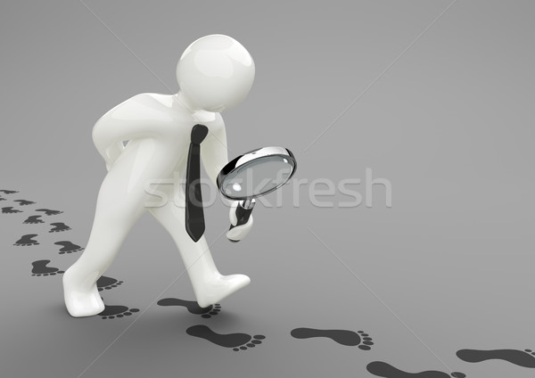 Manikin Loupe Footprints Stock photo © limbi007