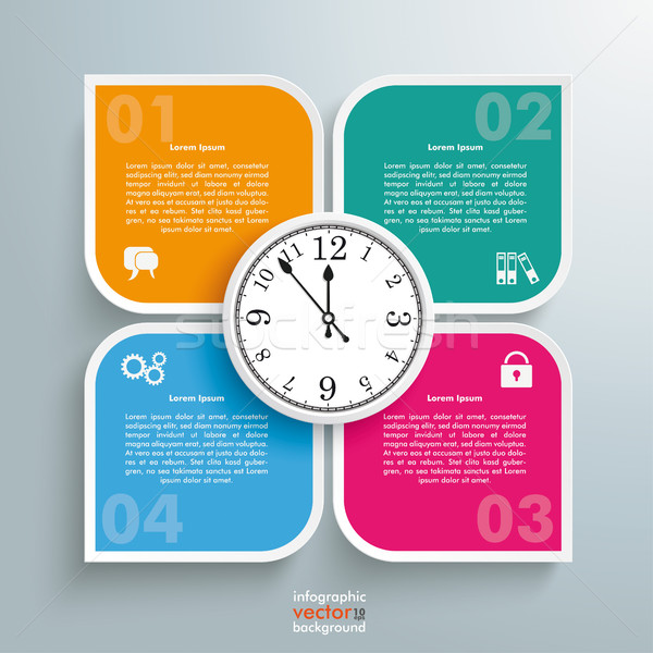 Round Colored Quadrates Template 4 Options Clock Centre Stock photo © limbi007