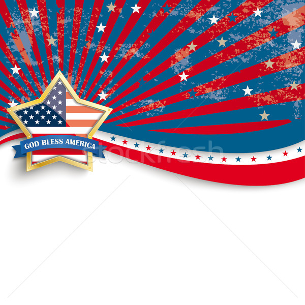 Golden Star God Bless Stars Stripes Flyer Stock photo © limbi007