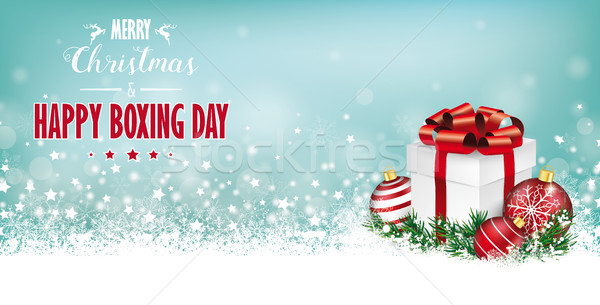 Cyan Christmas Header Snowflakes Gift Boxing Day Stock photo © limbi007