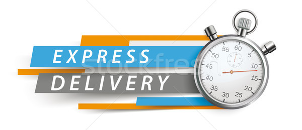 Express Delivery Stopwatch Blue Orange Paper Lines White Header Stock photo © limbi007