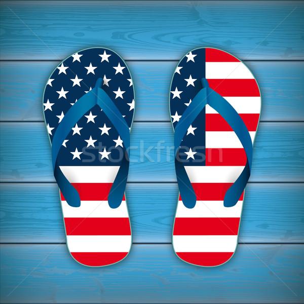 Flip-Flops USA Flag Wooden Background Stock photo © limbi007