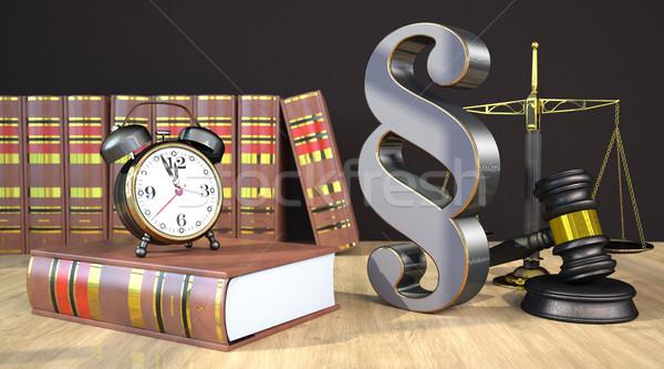 Absatz Gleichgewicht Hammer Holztisch Recht Pfund Stock foto © limbi007