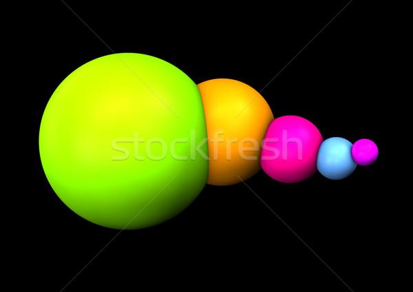 Colorido abstrato esferas preto projeto laranja Foto stock © limbi007