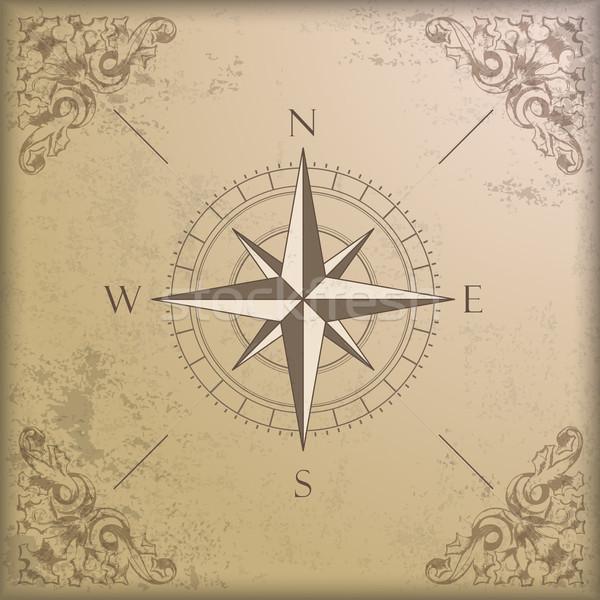Stock photo: Vintage Background Edge Ornaments Compass