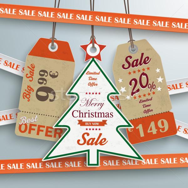 Sale Sticker Lines Christmas Price Stickers Stock photo © limbi007