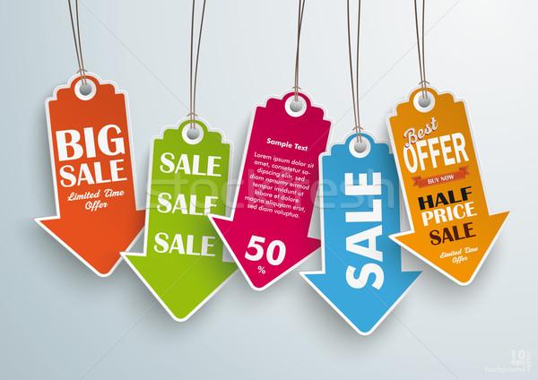 Five Colored Price Sticker Stock photo © limbi007