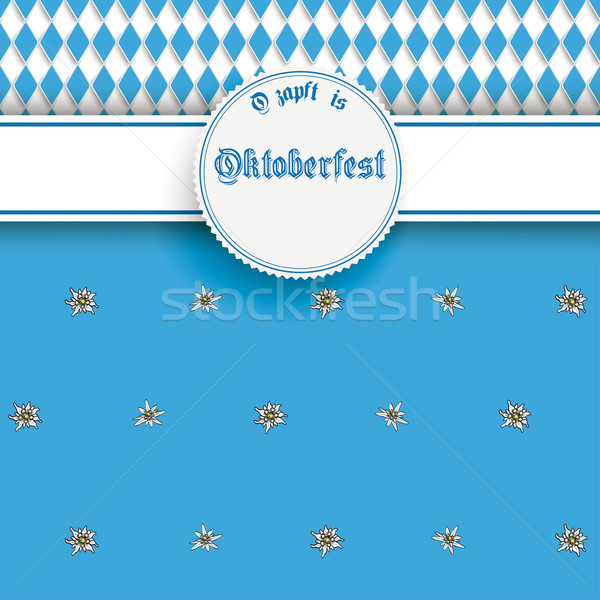 Bavarian Oktoberfest Flyer Banner Emblem Edelweiss Stock photo © limbi007