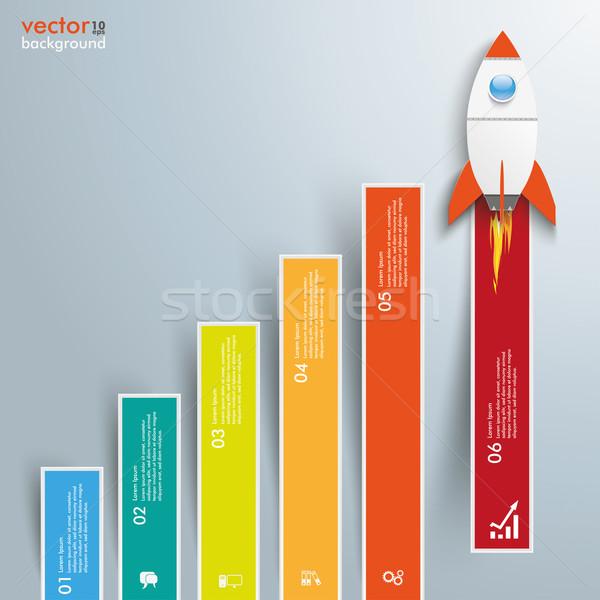 Diagram növekedés színes rácsok rakéta infografika Stock fotó © limbi007