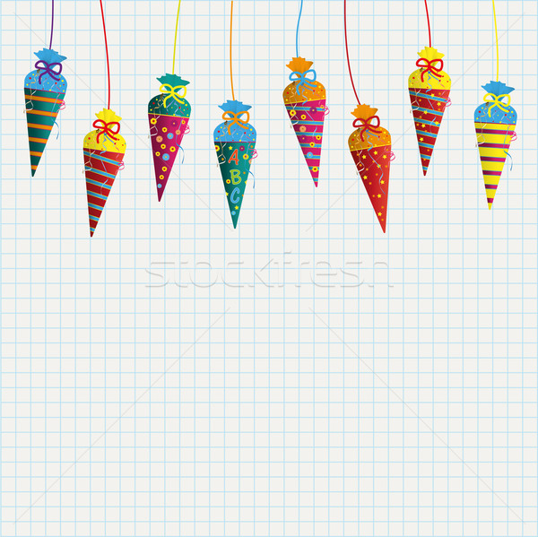 Hanging Candy Cones Flyer Checked Paper Stock photo © limbi007