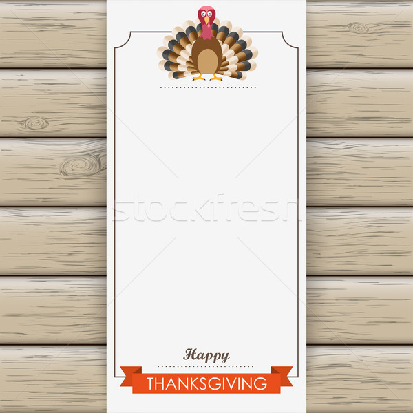 Stock photo: Oblong Banner Wood Thanksgiving Turkey