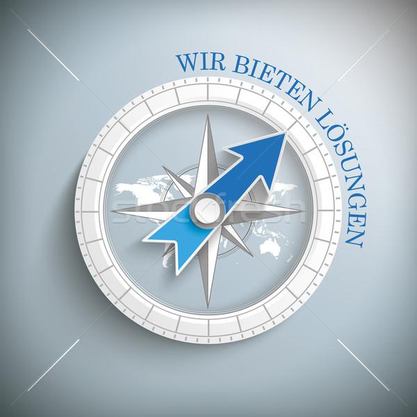 Compass Silver Background Wir bieten Loesungen Stock photo © limbi007