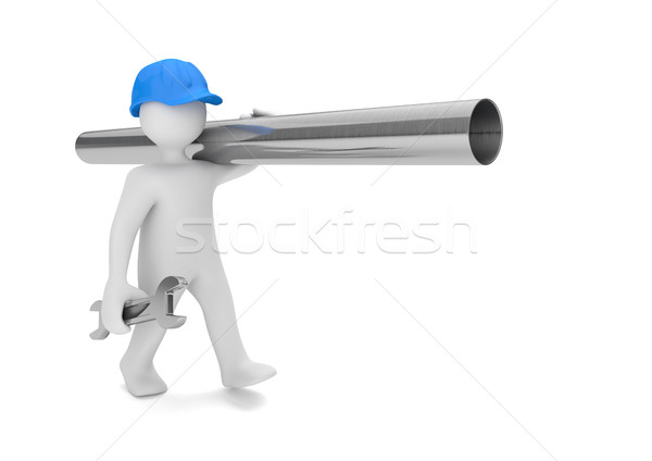 White Manikin Plumber Pipe Stock photo © limbi007