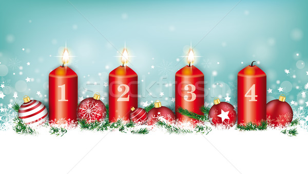 Cyan Christmas Card Header Snowflakes Baubles 3 Advent Stock photo © limbi007