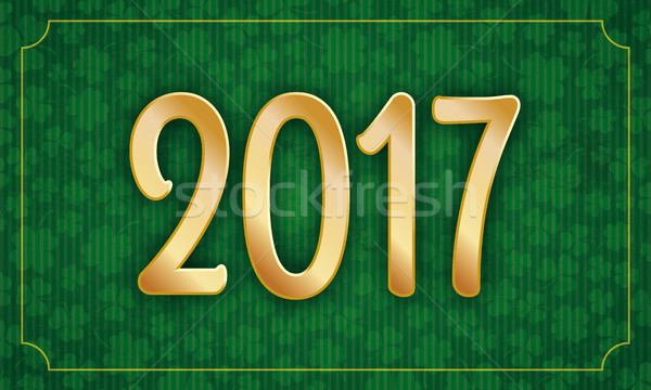 Long Vintage Frame Shamrocks Golden 2017 Stock photo © limbi007