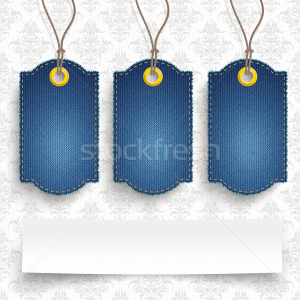 4 Classic Frayed Jeans Price Stickers Ornaments Stock photo © limbi007