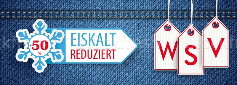 Stock photo: Jeans Header Price Stickers WSV Eiskalt Reduziert