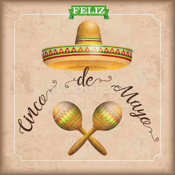 Sombrero Cinco De Mayo Vintage Frame Maracas Stock photo © limbi007