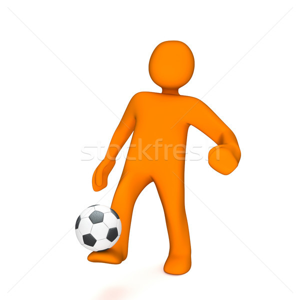 Orange Manikin Juggles Football Stock photo © limbi007