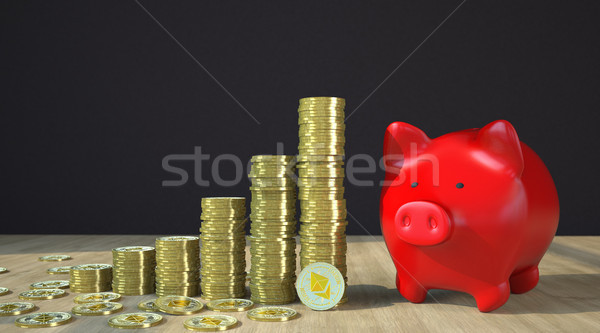 Ethereum Red Piggy Bank Stock photo © limbi007