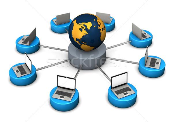 Világ illusztráció laptopok földgömb fehér üzlet Stock fotó © limbi007