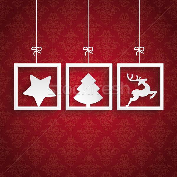 Stock photo: Red Background Ornaments 3 Frames Christmas