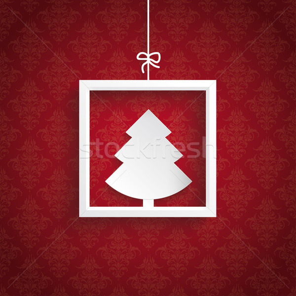 Red Background Ornaments Quadrate Frame Christmas Tree Stock photo © limbi007