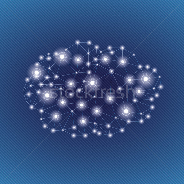 Low Poly Paper Cloud Networks Lights Sky Stock photo © limbi007