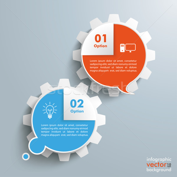 Thought Speech Bubbles Corner Gears Infographic Stock photo © limbi007