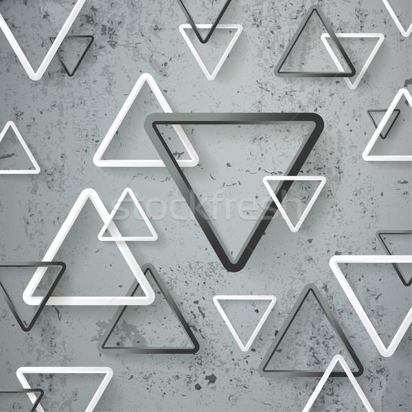 Preto e branco triângulo concreto branco eps 10 Foto stock © limbi007