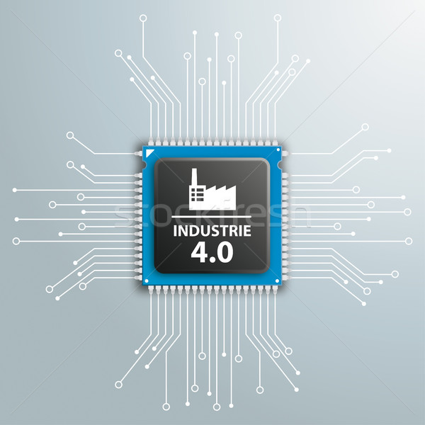 Industrie 4.0 Futuristic Processor Circuit Board Infographic Stock photo © limbi007
