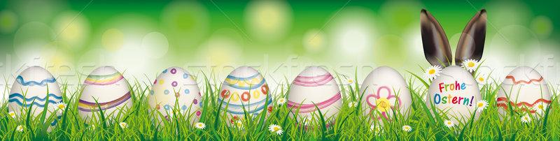 Natural Easter Eggs Ostern Rabbit Ears Header Stock photo © limbi007