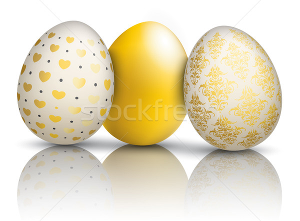 3 Golden Easter Eggs Ornaments Mirror Stock photo © limbi007