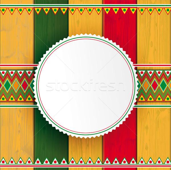 Legno mexican ornamenti colori emblema Foto d'archivio © limbi007
