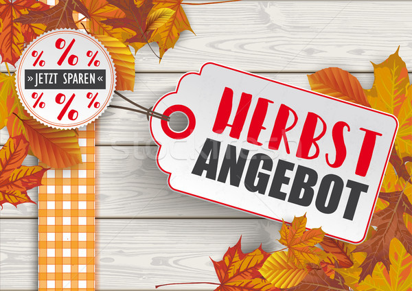 Wood Autumn Foliage Price Sticker Herbstangebot Stock photo © limbi007