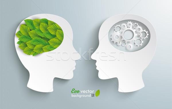 Two Heads Gears Eco Green Leaves Stock photo © limbi007