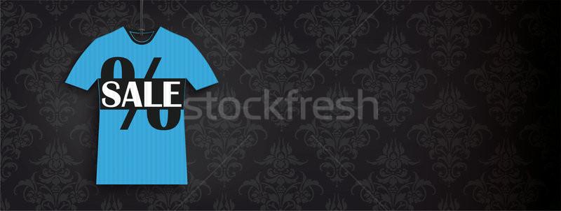 Blue T-Shirt Sale Price Sticker Black Ornaments Header Stock photo © limbi007